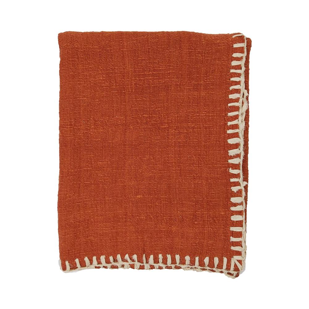 Hand Woven Cotton Blanket Stitch Throw 120x200cm Terracotta